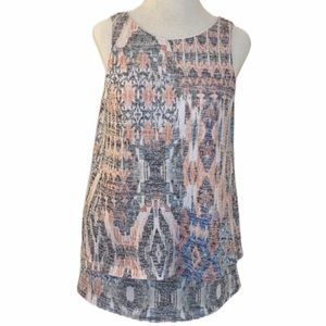 AGB sleeveless blouse, large, blue/red/white